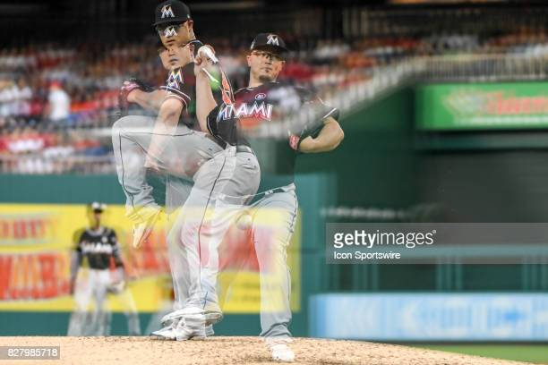 Miami Marlins starting pitcher Vance Worley pitches in the second inning in an in camera multiple exposure during an MLB game between the Miami...