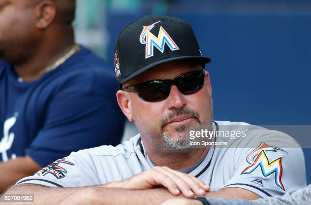 Miami Marlins Third Base Coach and former Manager of the Atlanta Braves Fredi Gonzalez looks on prior to the MLB game between the Atlanta Braves and...