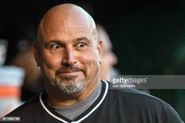 Miami Marlins third base coach Fredi Gonzalez walks in the dugout during an MLB game between the Miami Marlins and the Washington Nationals on August...