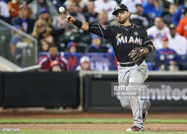 Miami Marlins Third base Martin Prado throws out New York Mets Infield TJ Rivera on a ground ball during the National League Eastern division game...