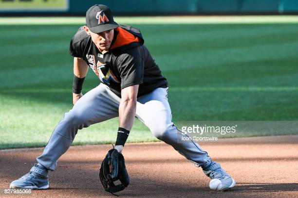 Miami Marlins third baseman Derek Dietrich warms up prior to an MLB game between the Miami Marlins and the Washington Nationals on August 8 at...