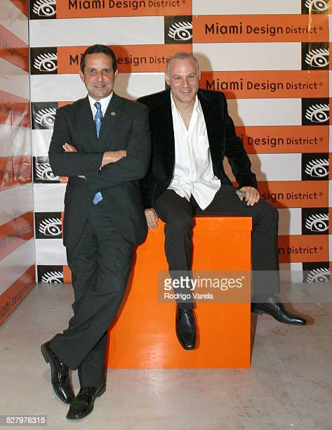 Miami Mayor Manny Diaz and Craig Robins during Craig Robins Art Loves Design Party in the Miami Design District at Design District in Miami Florida...