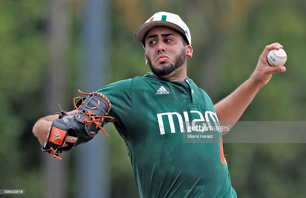 Miami pitcher Danny Garcia works against Boston College in the NCAA Tournament's Coral Gables Super Regional at Alex Rodriguez Park at Mark Light...