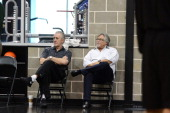 Miami President Pat Riley and Team Owner Micky Arison observe practice during media availability as part of the 2014 NBA Finals on June 7 2014 at the...