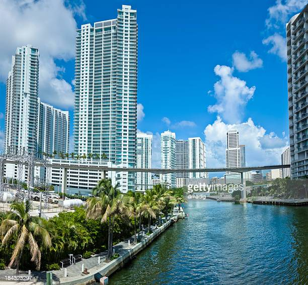 Miami River Cityscape With Condos Towering Above Palms