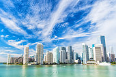 view of Miami downtown skyline at sunny and cloudy day with amazing architecture