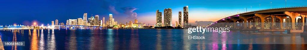 Miami Skyline at Night : Stock Photo