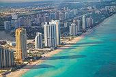 Aerial shot of Miami South Beach full of hotels and beautiful sea. Florida, USA.