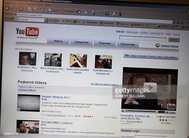 A picture is shown of the YouTube homepage 13 March 2007 US entertainment giant Viacom launched a billiondollar lawsuit 13 March 2007 against Google...