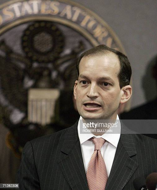 US Attorney Alexander Acosta addresses a press conference at his office in Miami 23 June 2006 outlining charges against seven individuals indicted by...