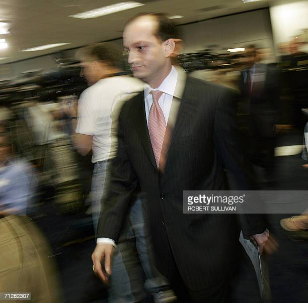 US Attorney Alexander Acosta arrives for a press conference at his office in Miami 23 June 2006 outlining charges against seven individuals indicted...