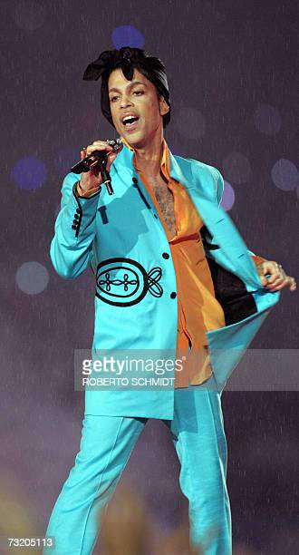 US musician Prince performs during halftime 04 February 2007 in Super Bowl XLI at Dolphin Stadium in Miami between the Chicago Bears and the...
