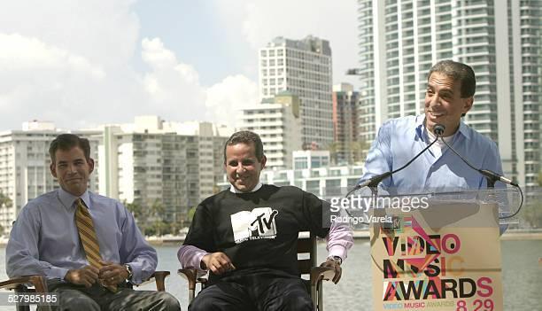 MiamiDade County Mayor Alex Penelas Miami Mayor Manny Diaz and Van Toffler president of MTV