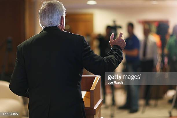 MiamiDade County Mayor Carlos A Gimenez speaks to the media regarding the US Justice Department and state attorneys general suit against the American...