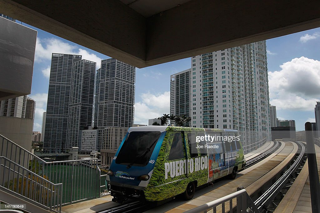 A Miami-Dade county Metromover train rolls along the track on March 12, 2012 in Miami, Florida. With gas prices on the rise, mass transit systems around the country have seen a 2.31 percent rise in ridership during 2011 over the previous year according to the American Public Transportation Association.