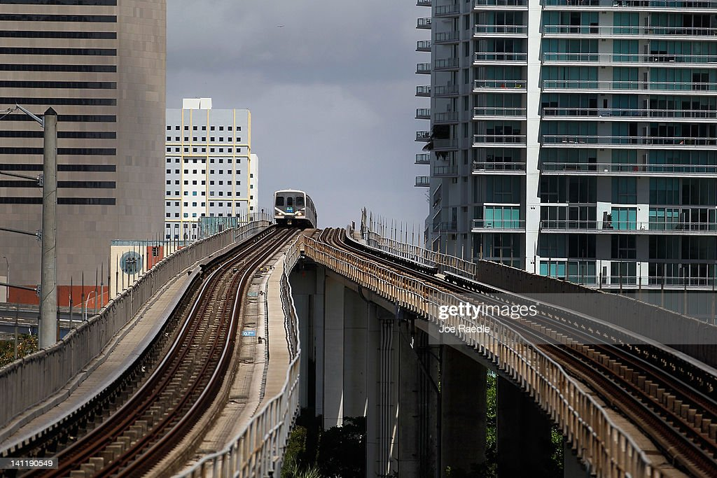 A Miami-Dade county Metrorail train arrives at a station on March 12, 2012 in Miami, Florida. With gas prices on the rise, mass transit systems around the country have seen a 2.31 percent rise in ridership during 2011 over the previous year according to the American Public Transportation Association.
