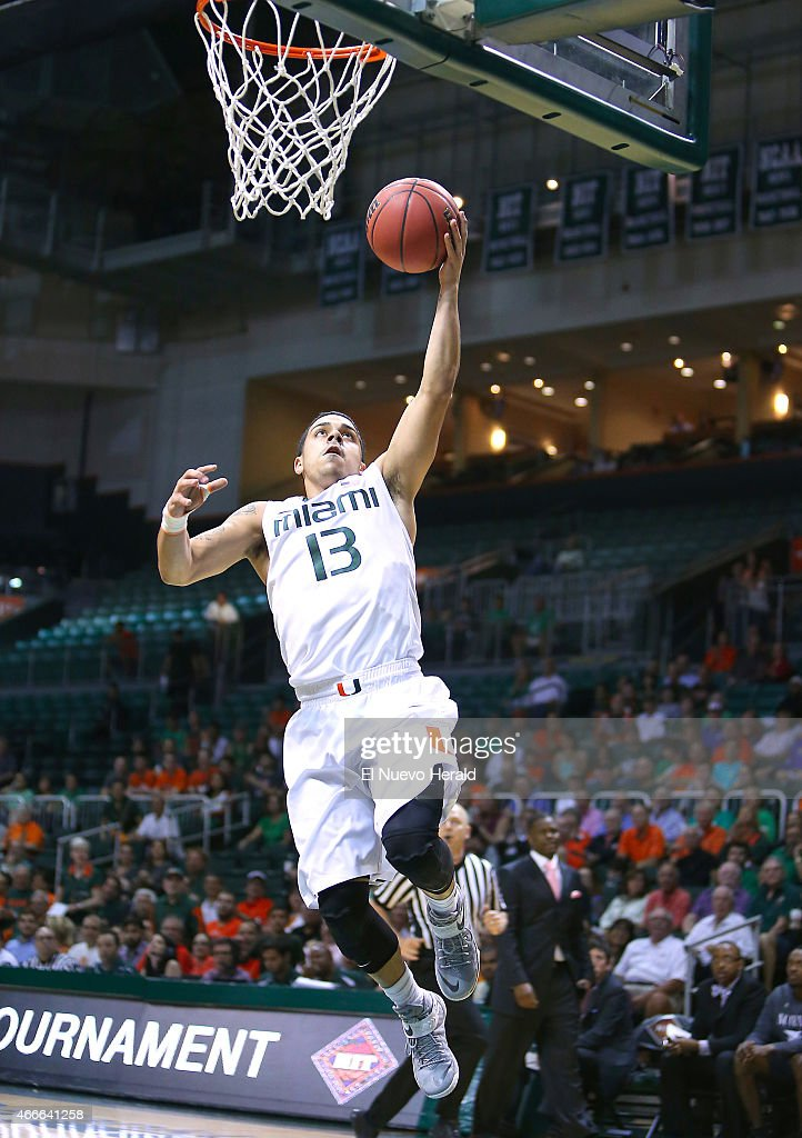 Miami's Angel Rodriguez goes to the basket against North Carolina Central during the first half of National Invitation Tournament firstround action...