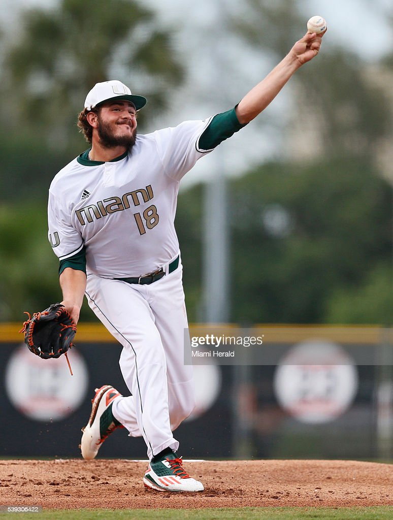 Miami's Michael Mediavilla pitches in the first inning against Boston College in the opener of the NCAA Tournament's Coral Gables Super Regional at...