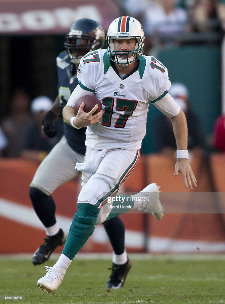 Miami's Ryan Tannehill runs for a first down in the fourth quarter as the Miami Dolphins beat the Seattle Seahawks 24-21 at Sun Life Stadium in Miami Gardens, Florida, November 25, 2012.