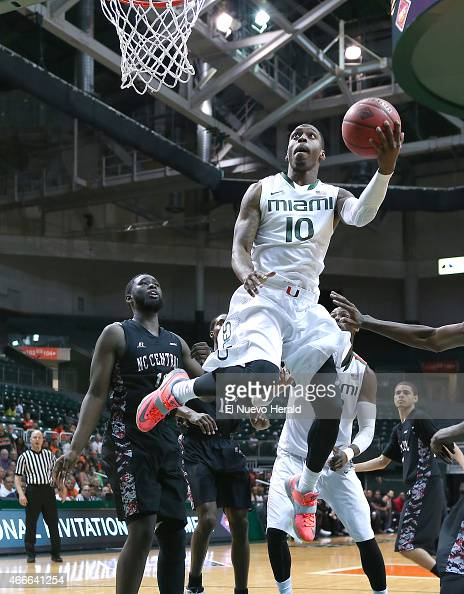 Miami's Sheldon McClellan goes to the basket against North Carolina Central during the second half of National Invitation Tournament firstround...