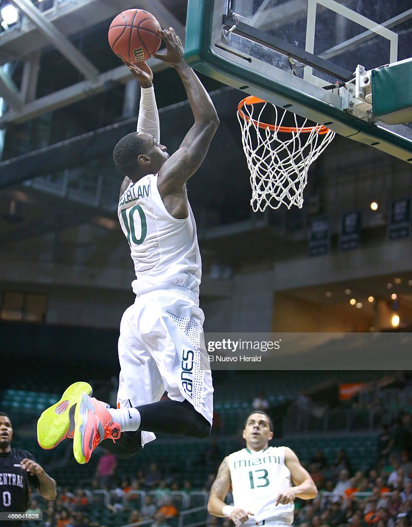 Miami's Sheldon McClellan goes to the basket against North Carolina Central during the first half of National Invitation Tournament firstround action...