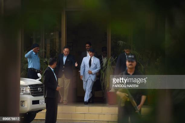 Mian Muhammad Shehbaz Sharif current chief minister of Punjab province and brother of Pakistan's Prime Minister Nawaz Sharif leaves after appearing...