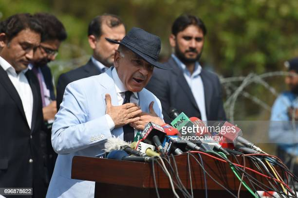 Mian Muhammad Shehbaz Sharif current chief minister of Punjab province and brother of Pakistan's Prime Minister Nawaz Sharif addresses the media...