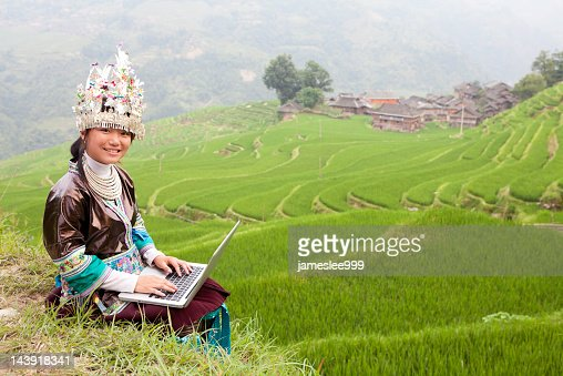 Miao Girl Use Laptop