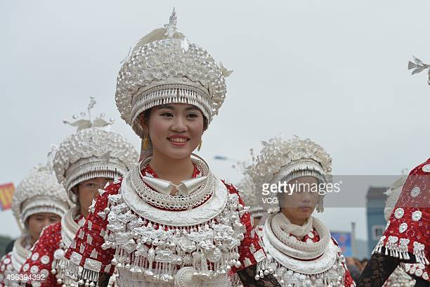 Miao nationality people wearing traditional clothes parade during the Lusheng Festival the most influential festival of the Miao community on...