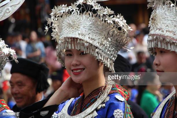 Miao people wearing ethnic costumes participated in the celebration of Miao's New Year at Leishan County on October 7 2017 in Qiandongnan Miao and...
