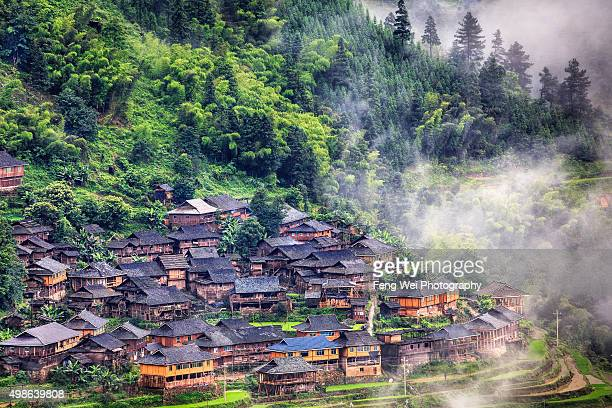 Miao Village in the mountains, Jiabang Guizhou China
