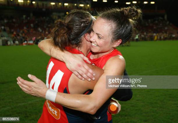 MiaRae Clifford and Daisy Pearce of the Demons celebrate during the 2017 AFLW Round 06 match between the Adelaide Crows and the Melbourne Demons at...