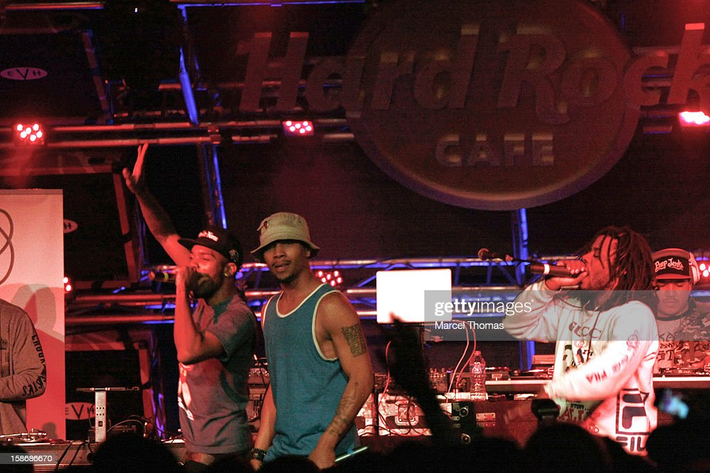 Mibbs, B YOUNG and Like of the rap group Pac Div perform at the Hard Rock Cafe on December 22, 2012 in Las Vegas, Nevada.