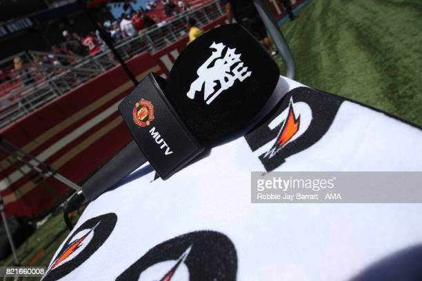 MUTV mic on a Gatorade towel during the International Champions Cup match between Paris SaintGermain and Tottenham Hotspur on July 22 2017 in Orlando...