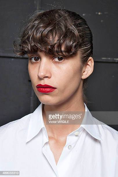 Mica Arganaraz backstage at the Jason Wu fashion show during the Spring Summer 2016 New York Fashion Week on September 11 2015 in New York City