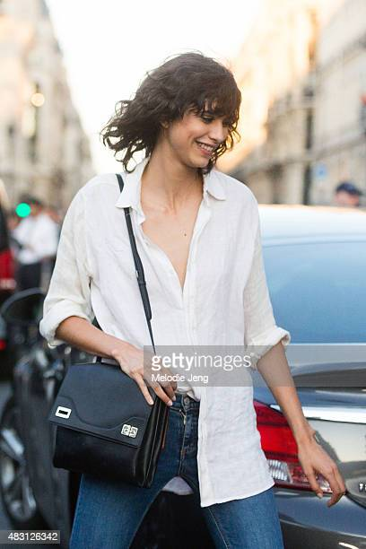Mica Arganaraz exits the Versace Couture show at Palais Brongniart on July 5 2015 in Paris France