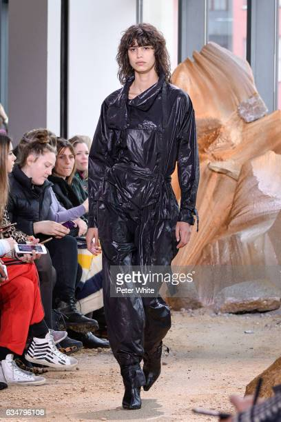 Mica Arganaraz walks the runway at Lacoste show during New York Fashion Week on February 11 2017 in New York City