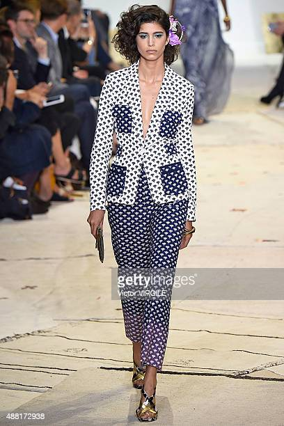 Mica Arganaraz walks the runway at the Diane Von Furstenberg Spring Summer 2016 fashion show during the New York Fashion Week on September 13 2015 in...