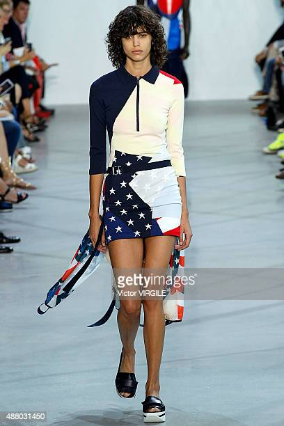 Mica Arganaraz walks the runway at the Lacoste Spring Summer 2016 during the New York Fashion Week on September 12 2015 in New York City