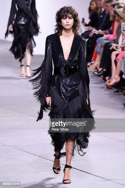 Mica Arganaraz walks the runway at the Michael Kors Collection Fall 2017 show at Spring Studios on at Spring Studios on February 15 2017 in New York...