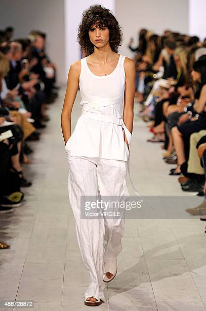 Mica Arganaraz walks the runway at the Michael Kors Spring Summer 2016 fashion show during the New York Fashion Week on September 16 2015 in New York...