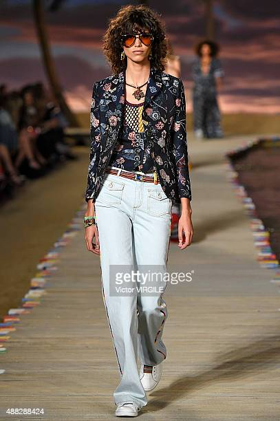 Mica Arganaraz walks the runway at the Tommy Hilfiger Women's Spring Summer 2016 fashion show during the New York Fashion Week on September 14 2015...