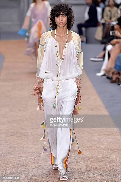 Mica Arganaraz walks the runway during the Chloe Ready to Wear show as part of the Paris Fashion Week Womenswear Spring/Summer 2016 on October 1 2015...