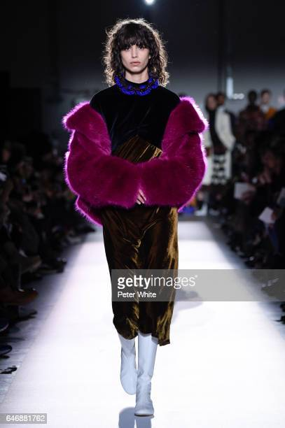 Mica Arganaraz walks the runway during the Dries Van Noten show as part of the Paris Fashion Week Womenswear Fall/Winter 2017/2018 on March 1 2017 in...