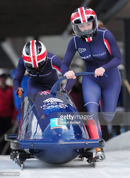 Mica McNeill and Jazmin Sawyers of Great Britain at the start of the TwoWoman Bobsleigh event at the Olympic Sliding Centre on January 22 2012 in...