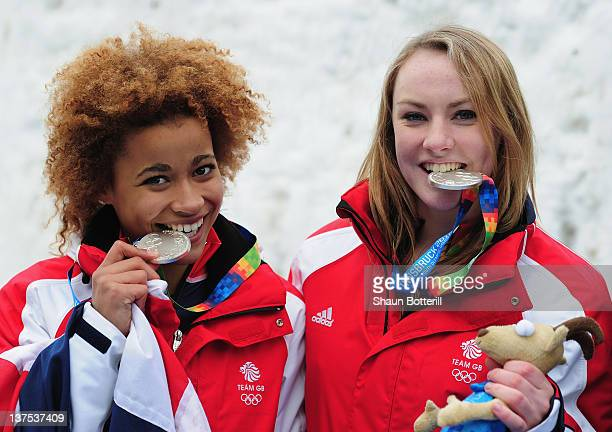 Mica McNeill and Jazmin Sawyers of Great Britain celebrate after winning the silver medal in the TwoWoman Bobsleigh event at the Olympic Sliding...