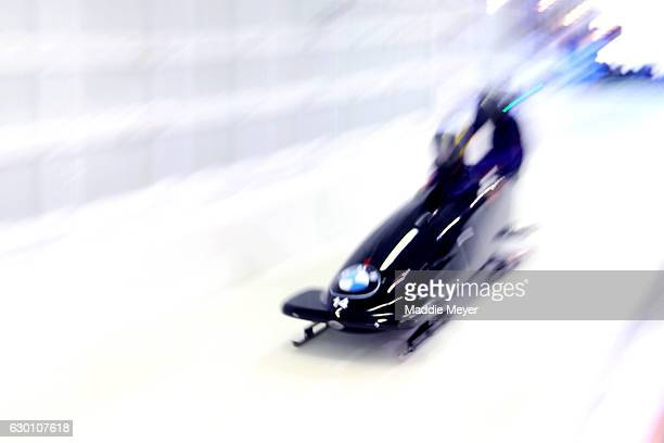 Mica McNeill and Mica Moore of Great Britain compete in their first run during day 1 of the 2017 IBSF World Cup Bobsled Skeleton at Lake Placid...