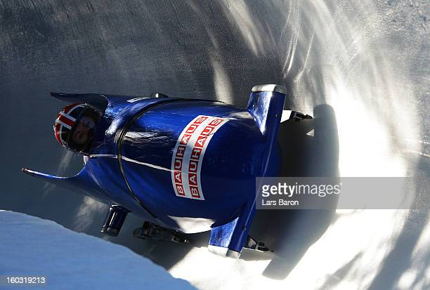Mica McNeill and Nikki McSweeney of great Britain compete during the Women's Bobsleigh heat 1 of the IBSF Bob Skeleton World Championship at Olympia...