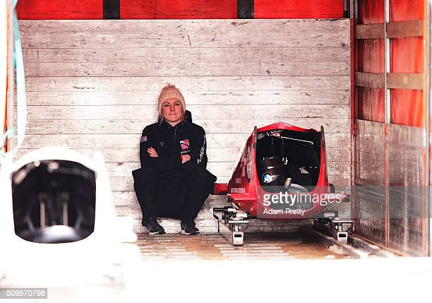 Mica McNeill of Great Britain is dejected after her fourth run with Natalie Deratt in the Women's Bobsleigh during Day 2 of the IBSF World...