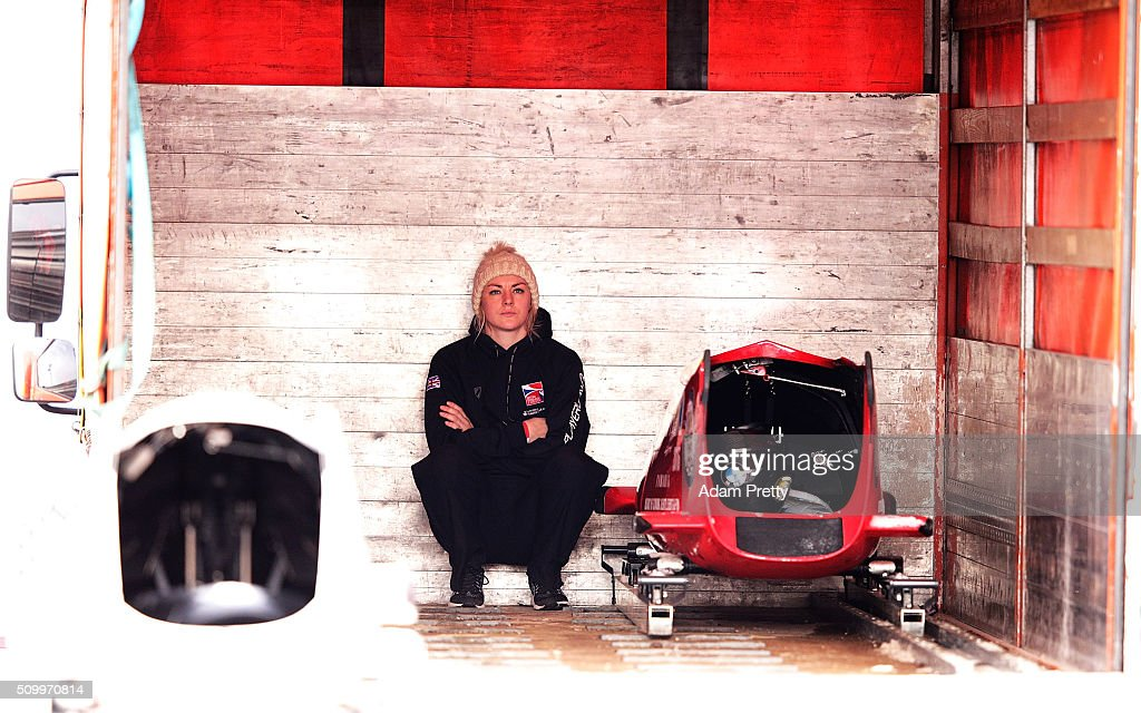 Mica McNeill of Great Britain is dejected after her fourth run with Natalie Deratt in the Women's Bobsleigh during Day 2 of the IBSF World Championships for Bob and Skeleton at Olympiabobbahn Igls on February 13, 2016 in Innsbruck, Austria.